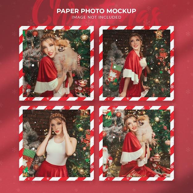 Christmas paper photo mockup Premium Psd