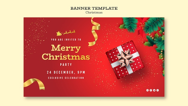 Christmas party banner template Premium Psd