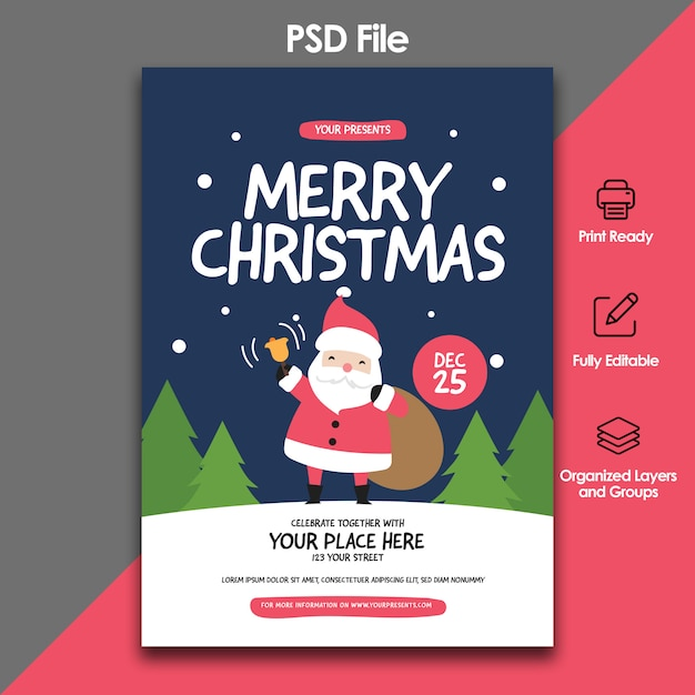 Christmas party and celebration flyer template Premium Psd