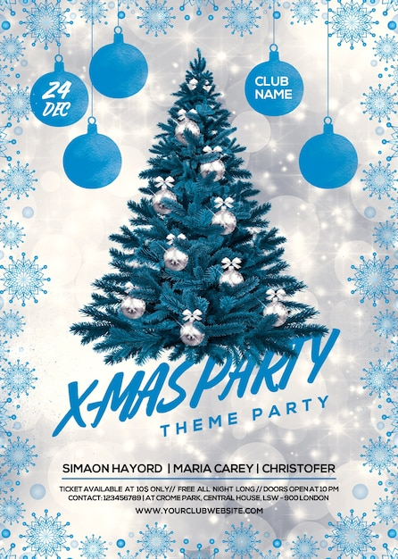 christmas party flyer premium psd