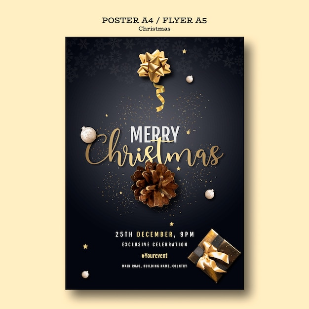 Christmas party poster template Free Psd
