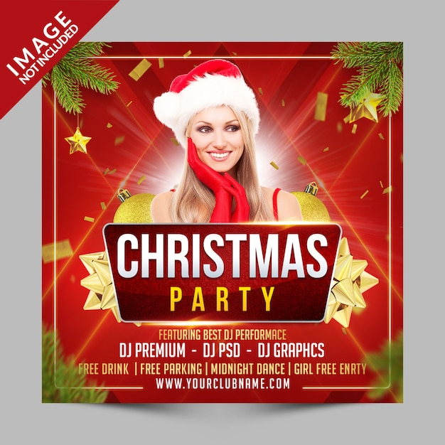 Christmas party square poster or flyer template, new year's eve invitation for club event Premium Psd