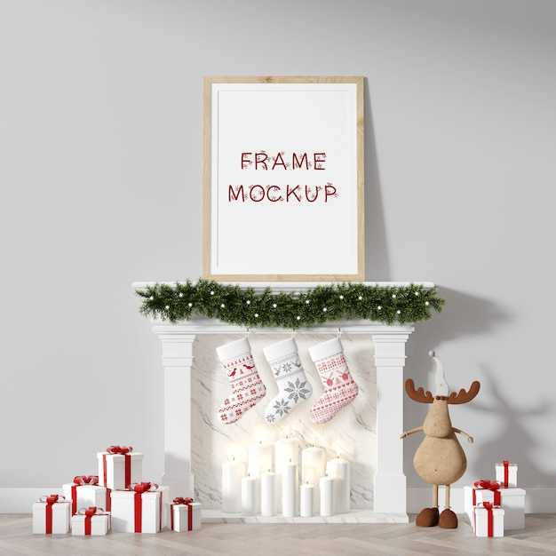 Christmas picture frame on fireplace, leaning against wall 3d rendering mockup Premium Psd
