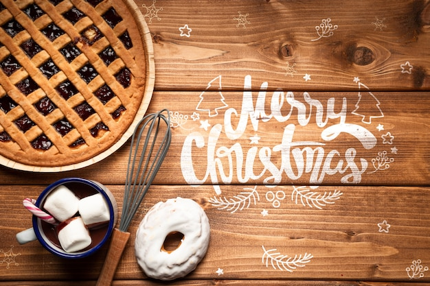 Christmas pie and hot chocolate with copy space Free Psd