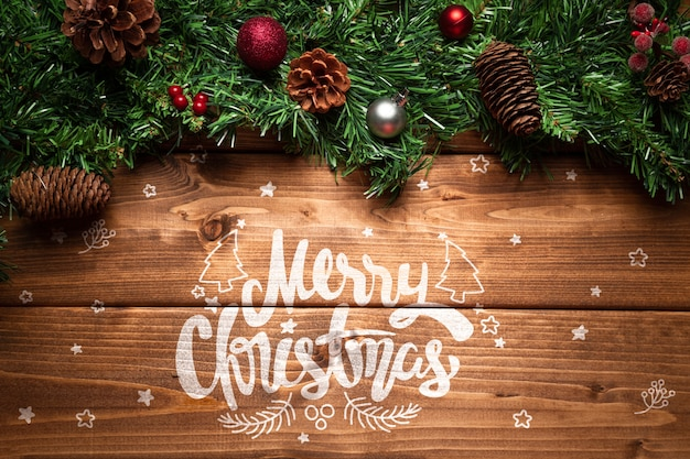 Christmas pine cones decor with copy space Free Psd