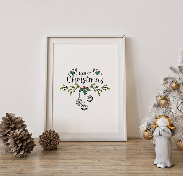 Christmas poster frame mockup with white christmas tree and decoration Premium Psd