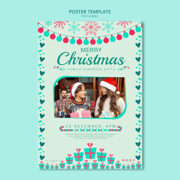 Christmas poster template with image Free Psd