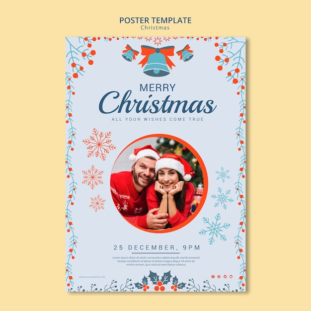 Christmas poster template with photo Free Psd