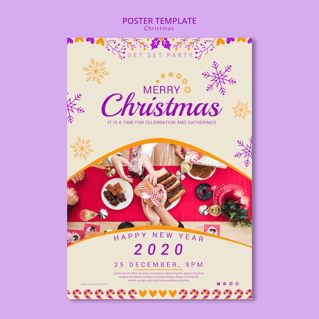 Christmas poster template with picture Free Psd