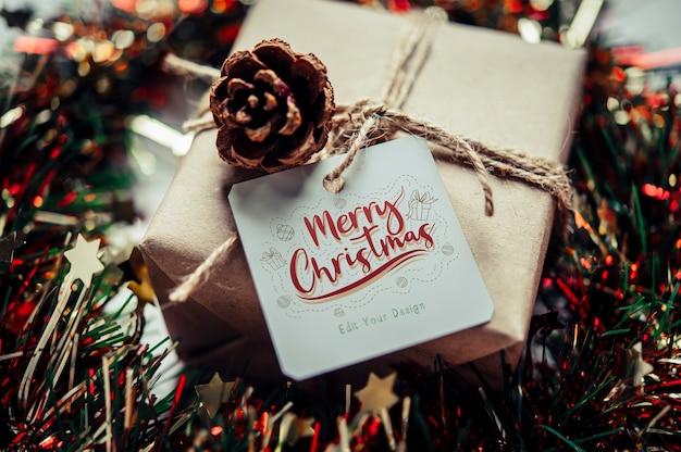 Рождественский подарок тег Бесплатные Psd