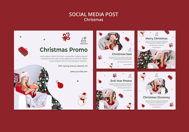 Шаблон сообщения в социальных сетях магазина рождественских подарков Premium Psd