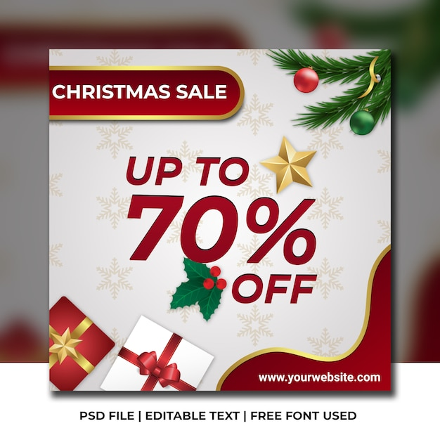 Christmas promotion sale template Premium Psd
