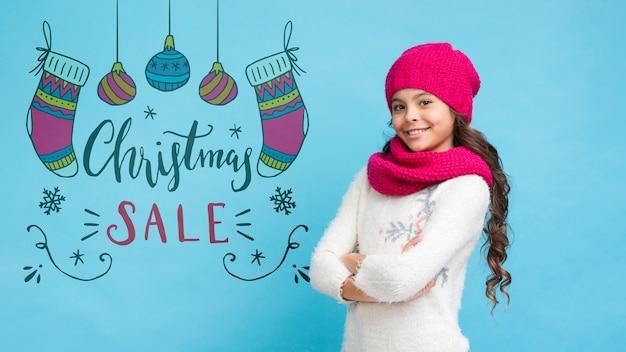 Рождественские акции, представленные девушкой Бесплатные Psd