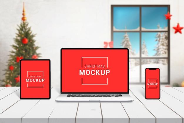 クリスマスレスポンシブデバイスのモックアップ Premium Psd