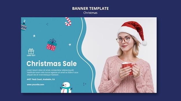 Рождественская распродажа баннер шаблон Бесплатные Psd