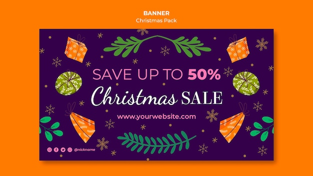 Christmas sale banner with special offers Free Psd