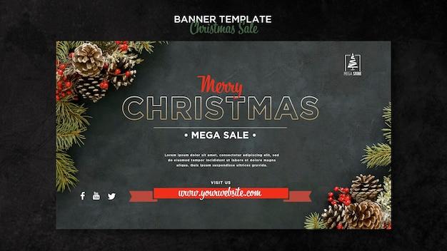 Рождественская распродажа концепция баннер шаблон Бесплатные Psd