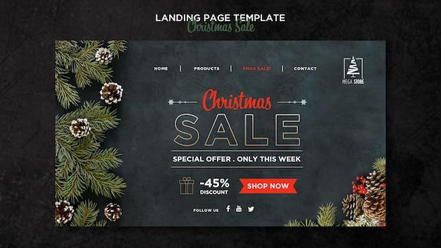 Шаблон целевой страницы рождественской распродажи Premium Psd