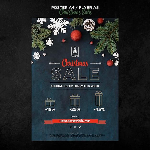 크리스마스 판매 개념 포스터 템플릿 무료 PSD 파일