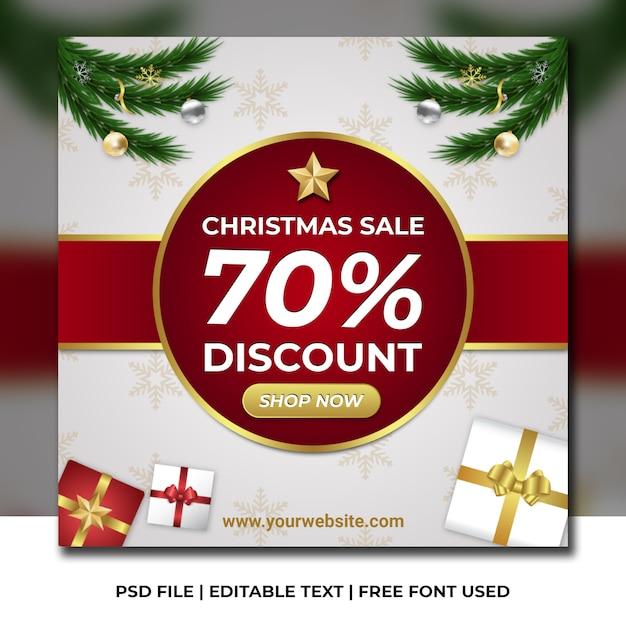 白と雪のパターンのクリスマスセール割引バナー Premium Psd