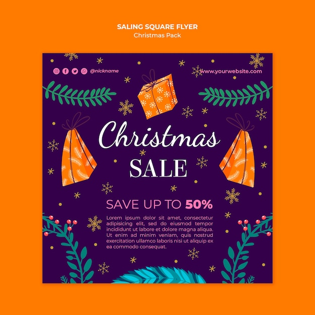 Christmas sale flyer with special offers Free Psd