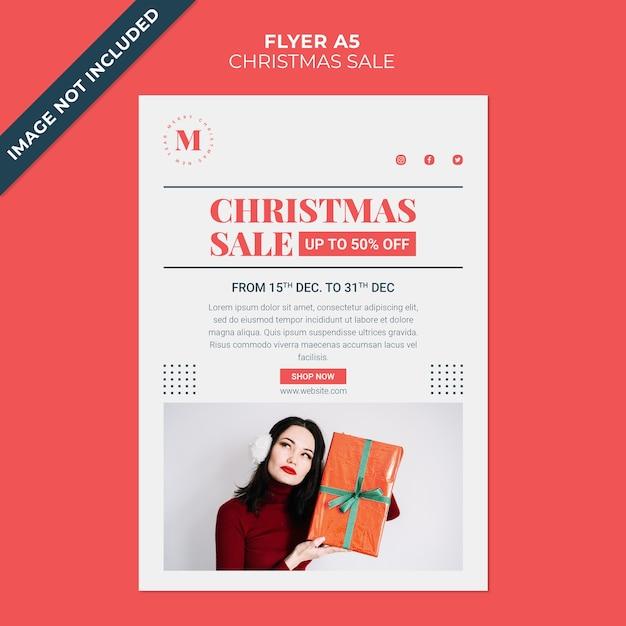 Рождественская распродажа минималистичный флаер шаблон Premium Psd