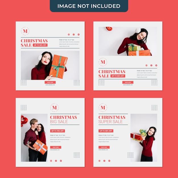 Рождественская распродажа минималистичный шаблон для сбора сообщений в социальных сетях Premium Psd