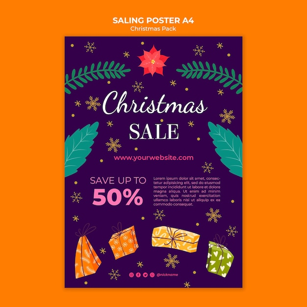 Christmas sale poster with discount Free Psd