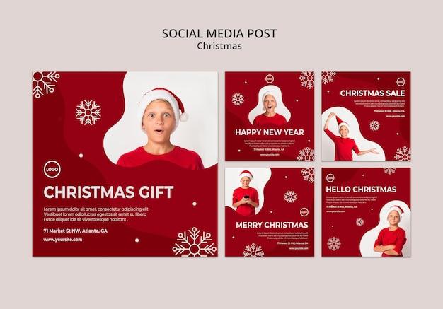 Сообщение в социальных сетях о рождественской распродаже Бесплатные Psd