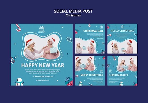 Рождественская распродажа в социальных сетях Premium Psd