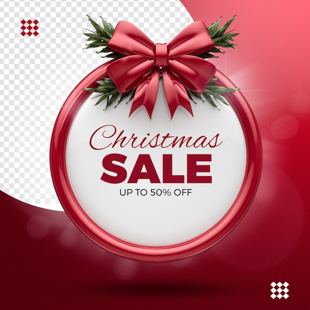 Christmas sale, up to 50% off, ribbon red and tree branches Premium Psd