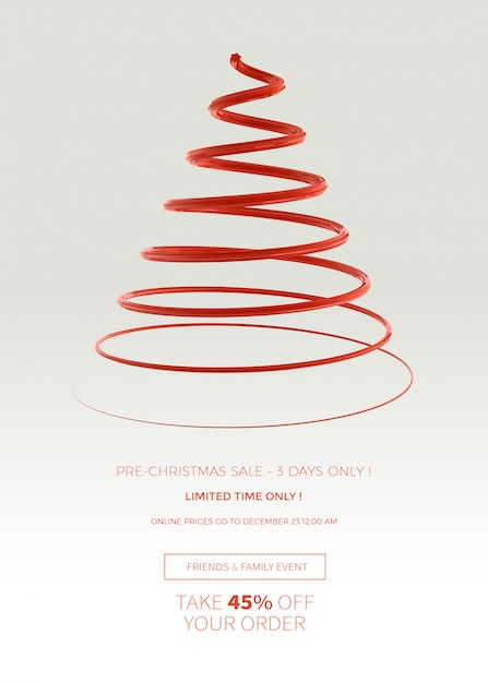 Christmas sale vertical banner or poster template Premium Psd