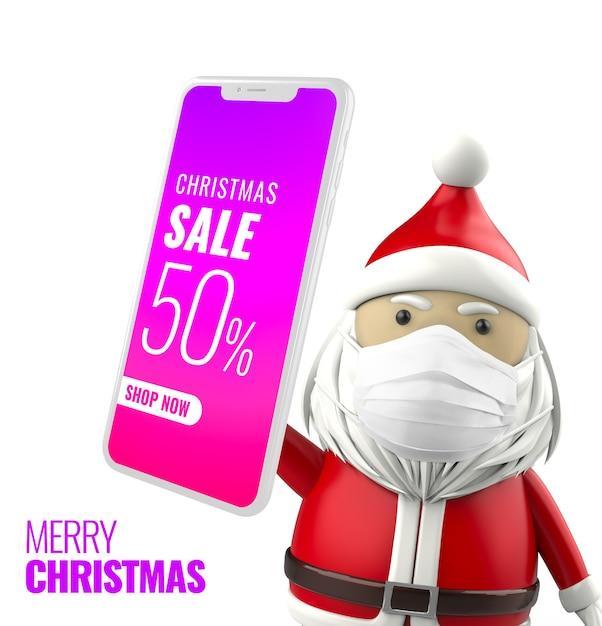 Рождественский санта держит макет смартфона Premium Psd