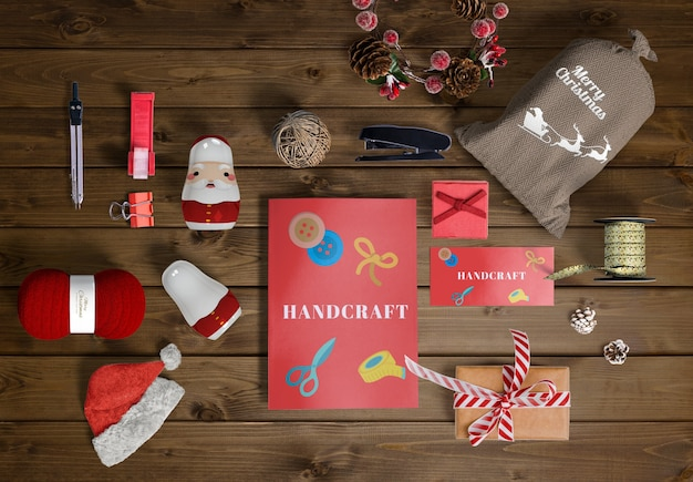 Christmas scene creator concept on wooden table Free Psd