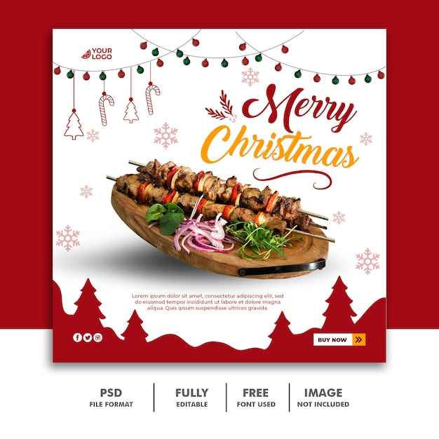 Christmas social media post banner template for food restaurant menu Premium Psd