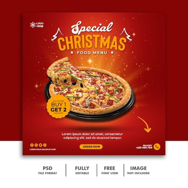 Рождественский шаблон поста в социальных сетях для меню ресторана еды Premium Psd