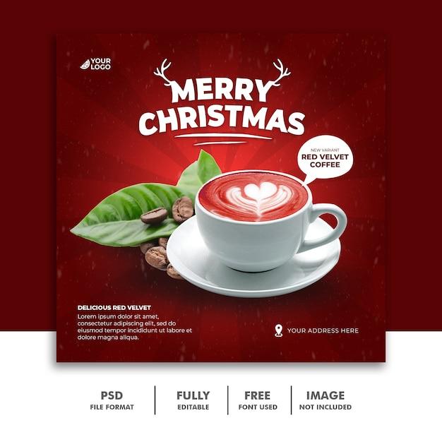레스토랑 음식 메뉴에 대한 크리스마스 소셜 미디어 게시물 배너 템플릿 프리미엄 PSD 파일