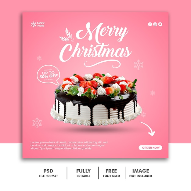 Christmas social media post banner template Premium Psd