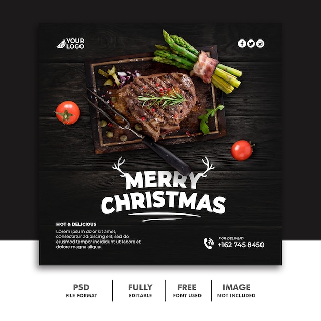 Christmas social media post template for delicious food menu steak beef Premium Psd