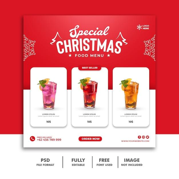 Рождественский пост в социальных сетях для меню ресторана Premium Psd