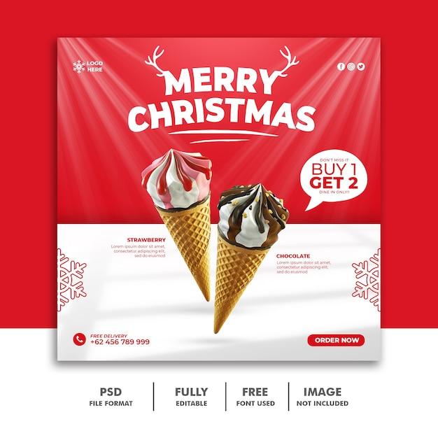 Christmas social media post template for restaurant food menu Premium Psd