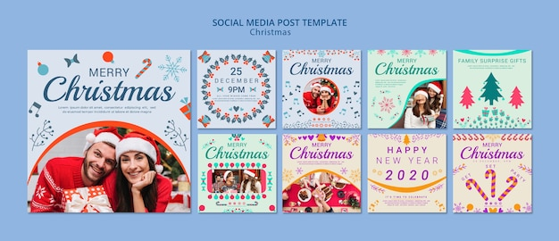 Christmas social media post template set Free Psd