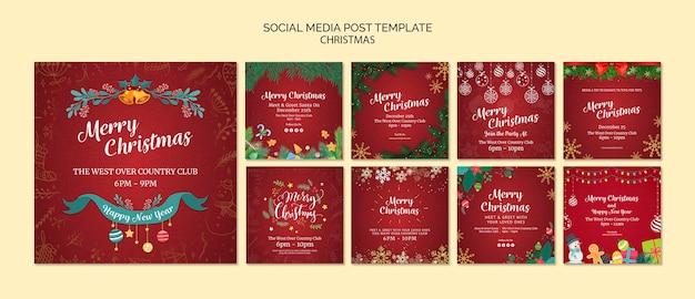 Рождественский пост в социальных сетях Бесплатные Psd