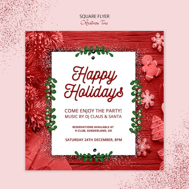 Christmas square flyer concept Free Psd