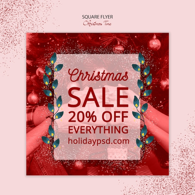 Christmas square flyer sale concept Free Psd