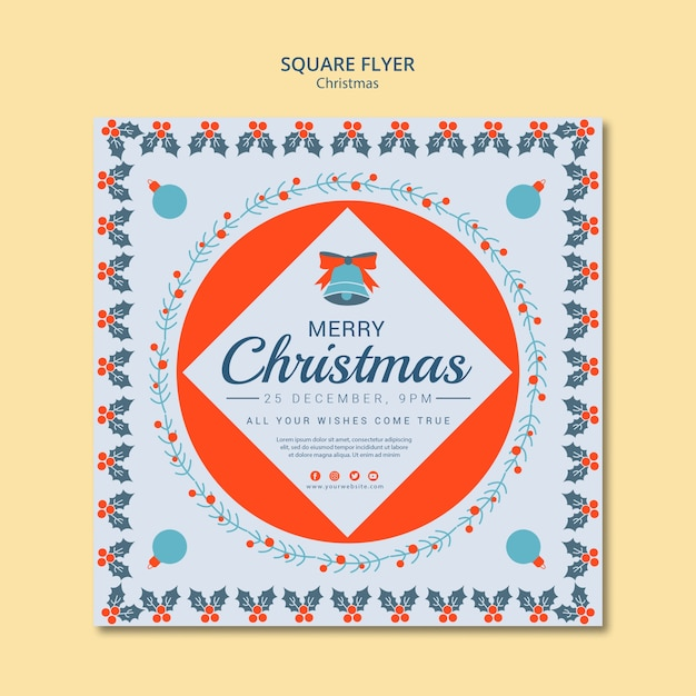 Christmas square flyer template Free Psd