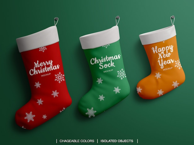 크리스마스 스타킹 양말 세트 모형 프리미엄 PSD 파일