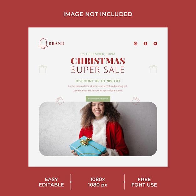 소셜 미디어 템플릿 크리스마스 슈퍼 세일 프리미엄 PSD 파일