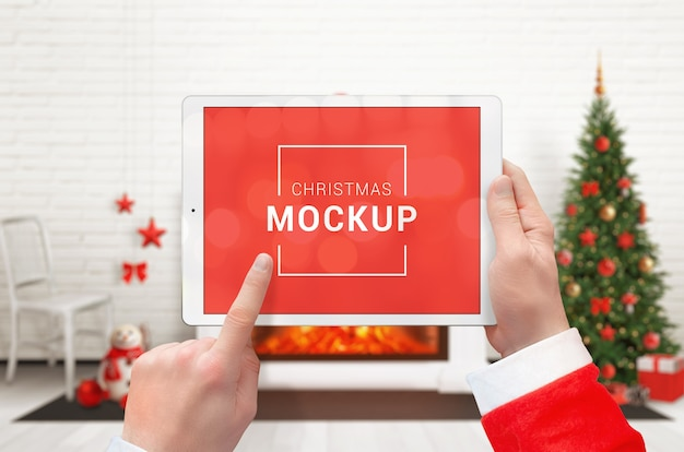 水平位置のクリスマスタブレットモックアップ Premium Psd