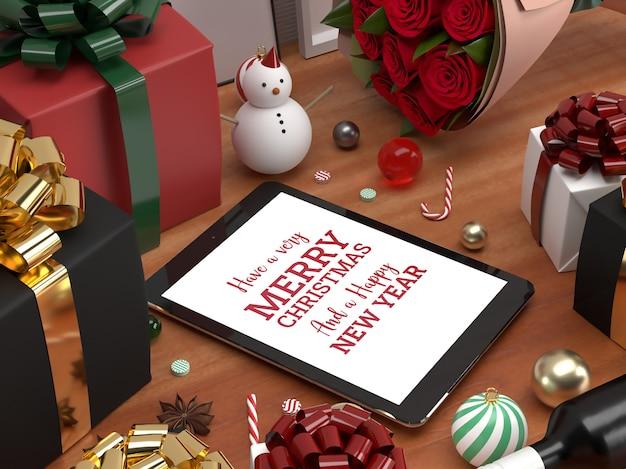 クリスマスタブレットパッドのお祝い3dリアルな敷設モックアップ広告 Premium Psd